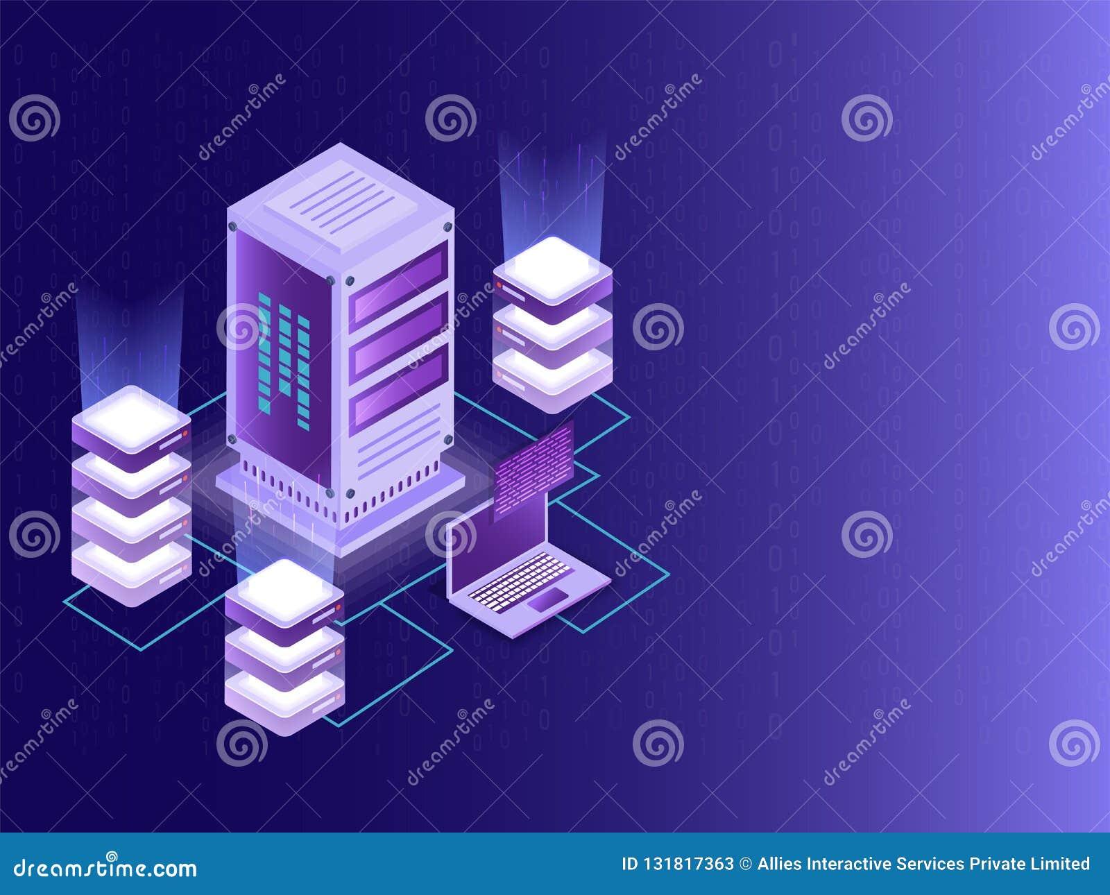 Isometric σχέδιο για το κέντρο δεδομένων, το μεγάλο κεντρικό υπολογιστή στοιχείων και το τοπικό serv