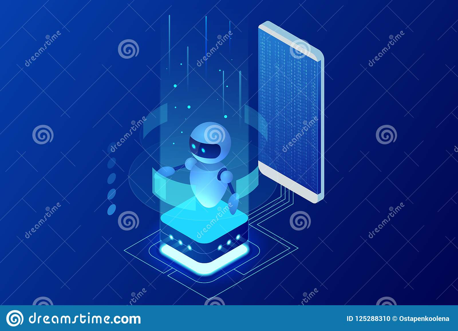 Isometric τεχνητή νοημοσύνη Chatbot και μελλοντικό μάρκετινγκ Έννοια AI και επιχειρήσεων IOT Υπηρεσία βοήθειας διαλόγου
