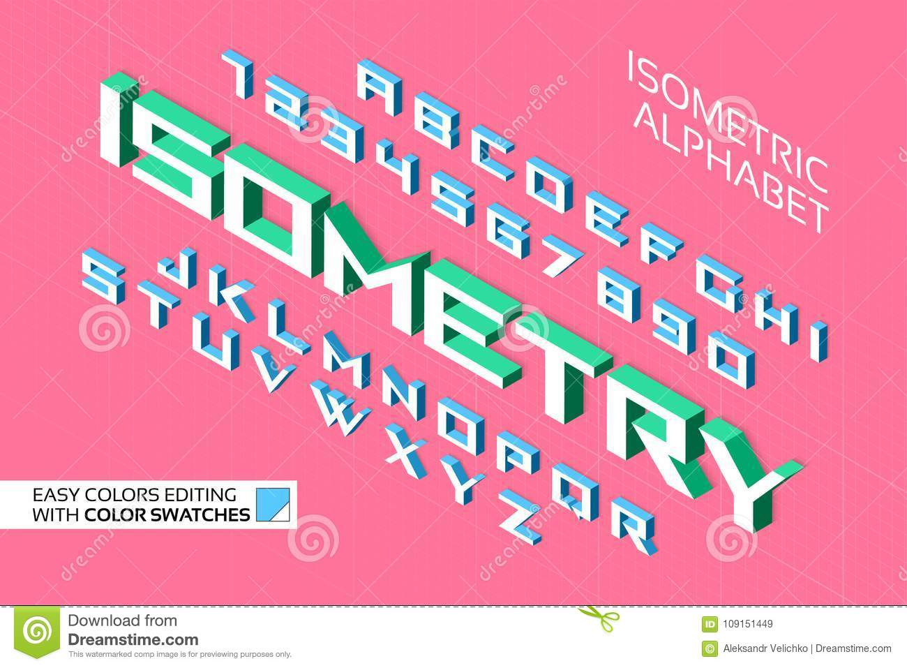 Isometric Alphabet. 3d Letters And Numbers Stock Vector ...