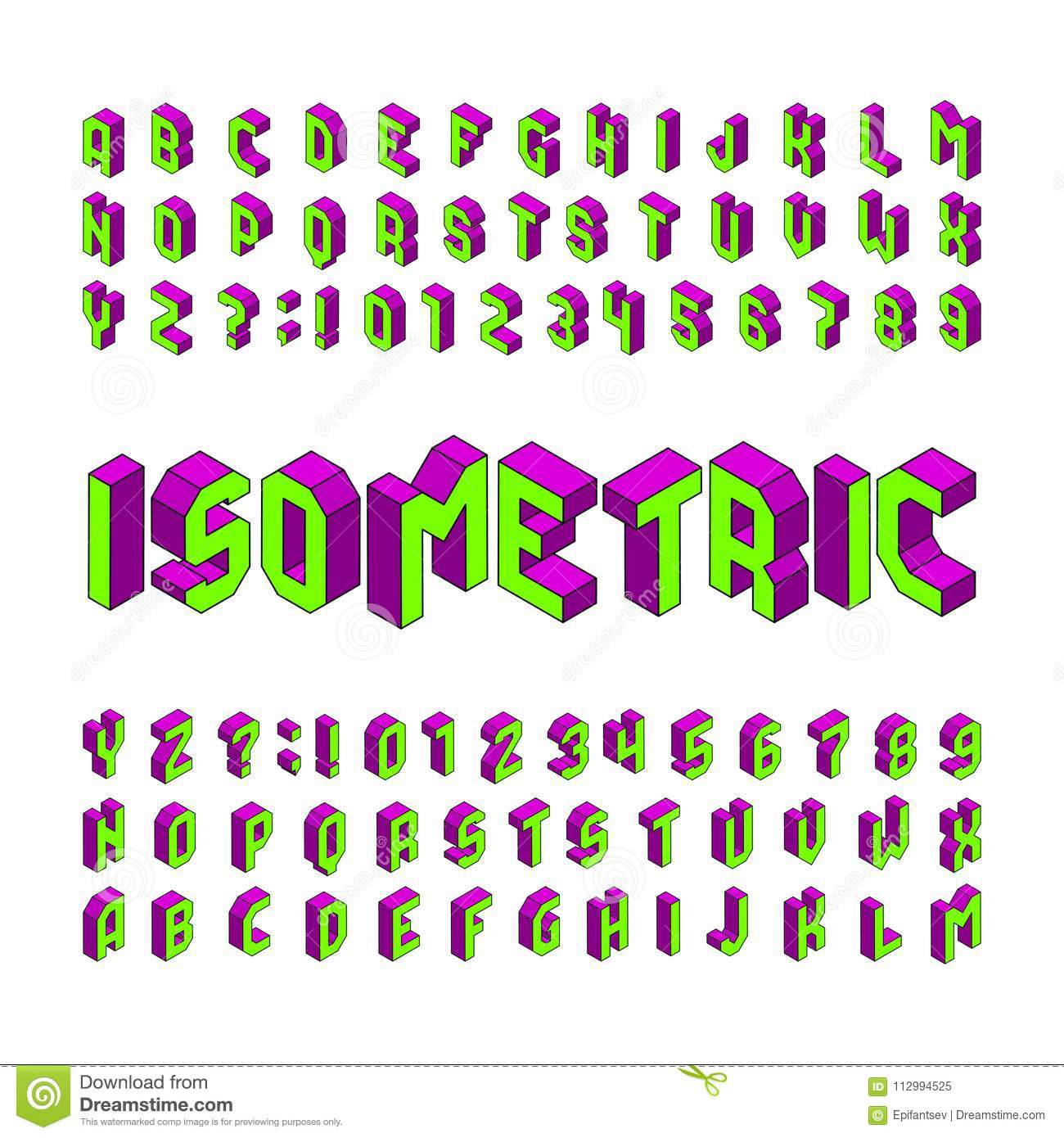 Isometric Alphabet Font. 3d Effect Letters And Numbers ...