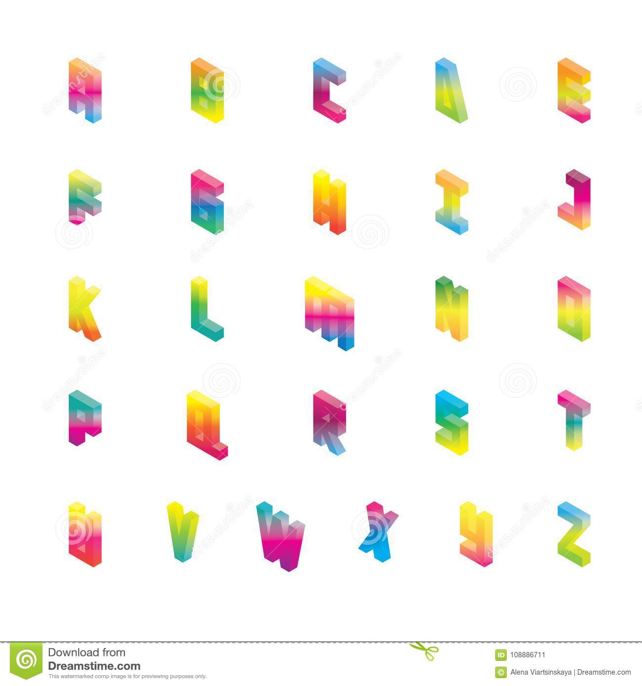 Isometric Alphabet In Gradient Bright Colors Vector Collection Good
