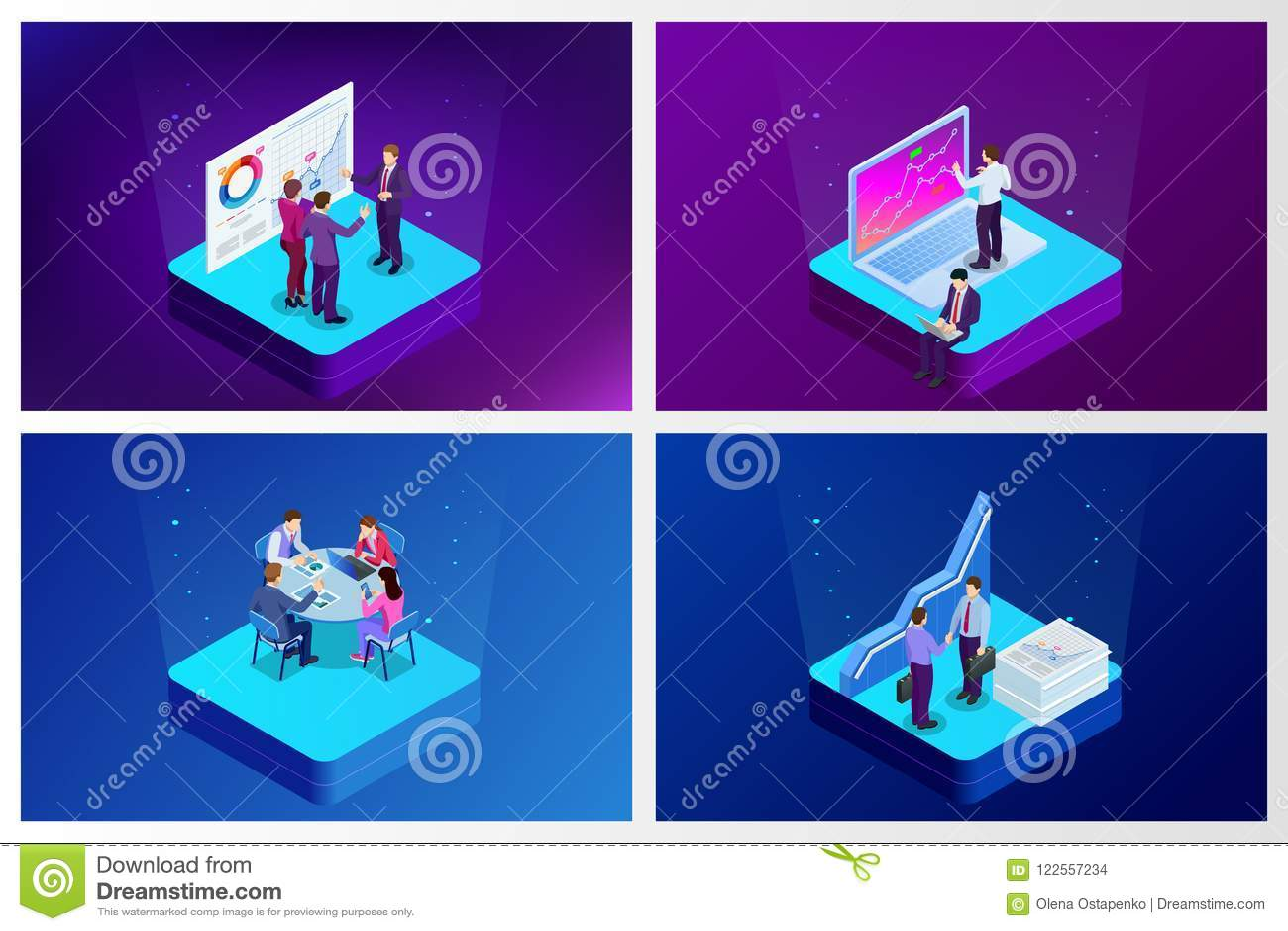 Isometric analizy inwestycja i dane Zarządzanie projektem, komunikacja biznesowa, obieg i konsultować, Strona internetowa i