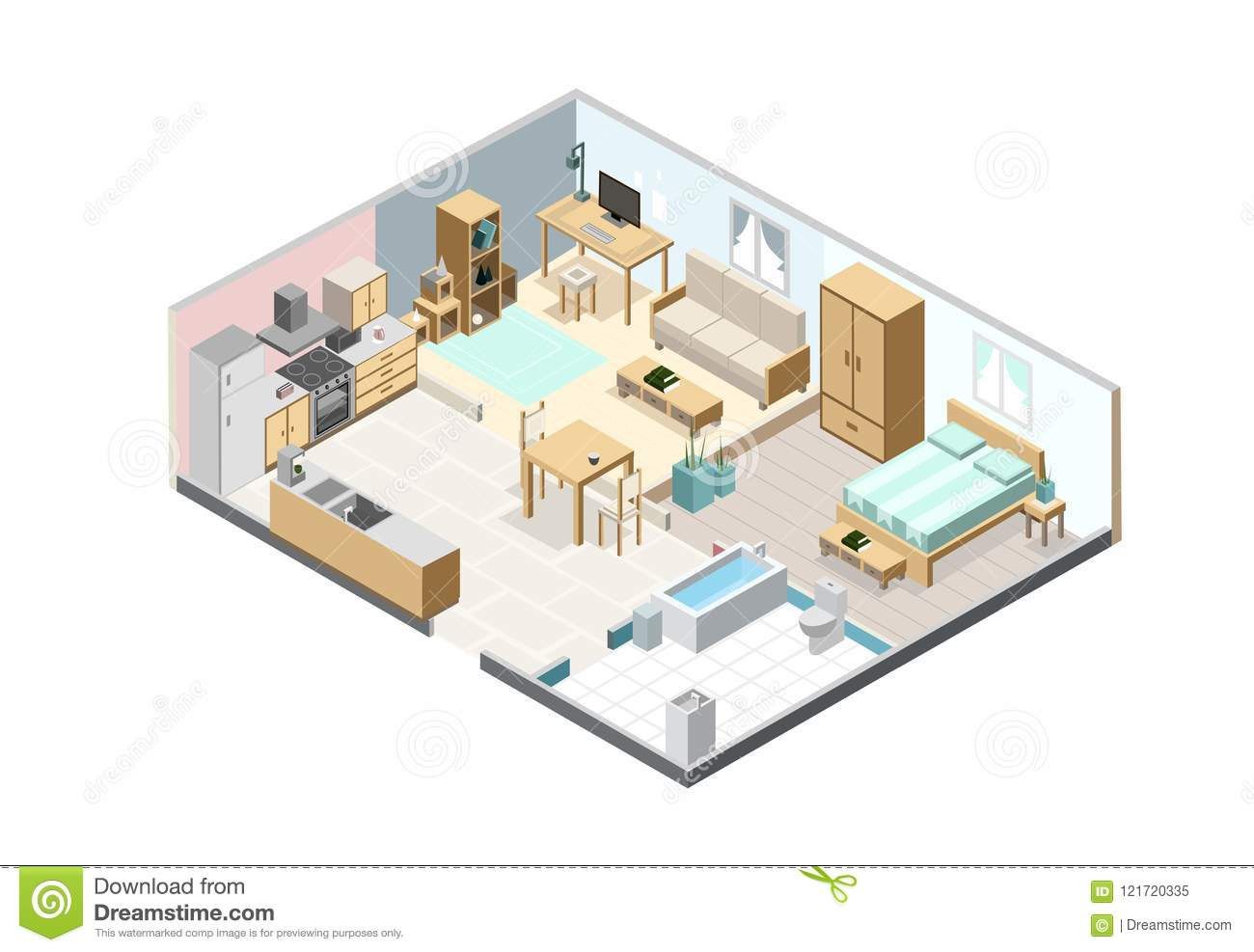 Isometric apartment isolated on white background kitchen - Living room bedroom bathroom kitchen ...