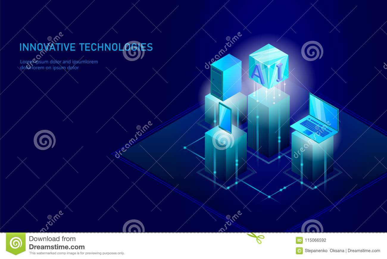 Isometric artificial intelligence business concept. Blue glowing isometric personal information data connection pc