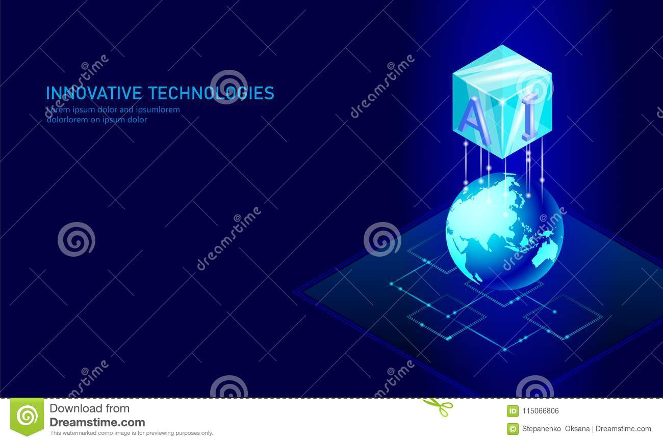 Isometric artificial intelligence business concept. Blue glowing isometric personal information data connection planet