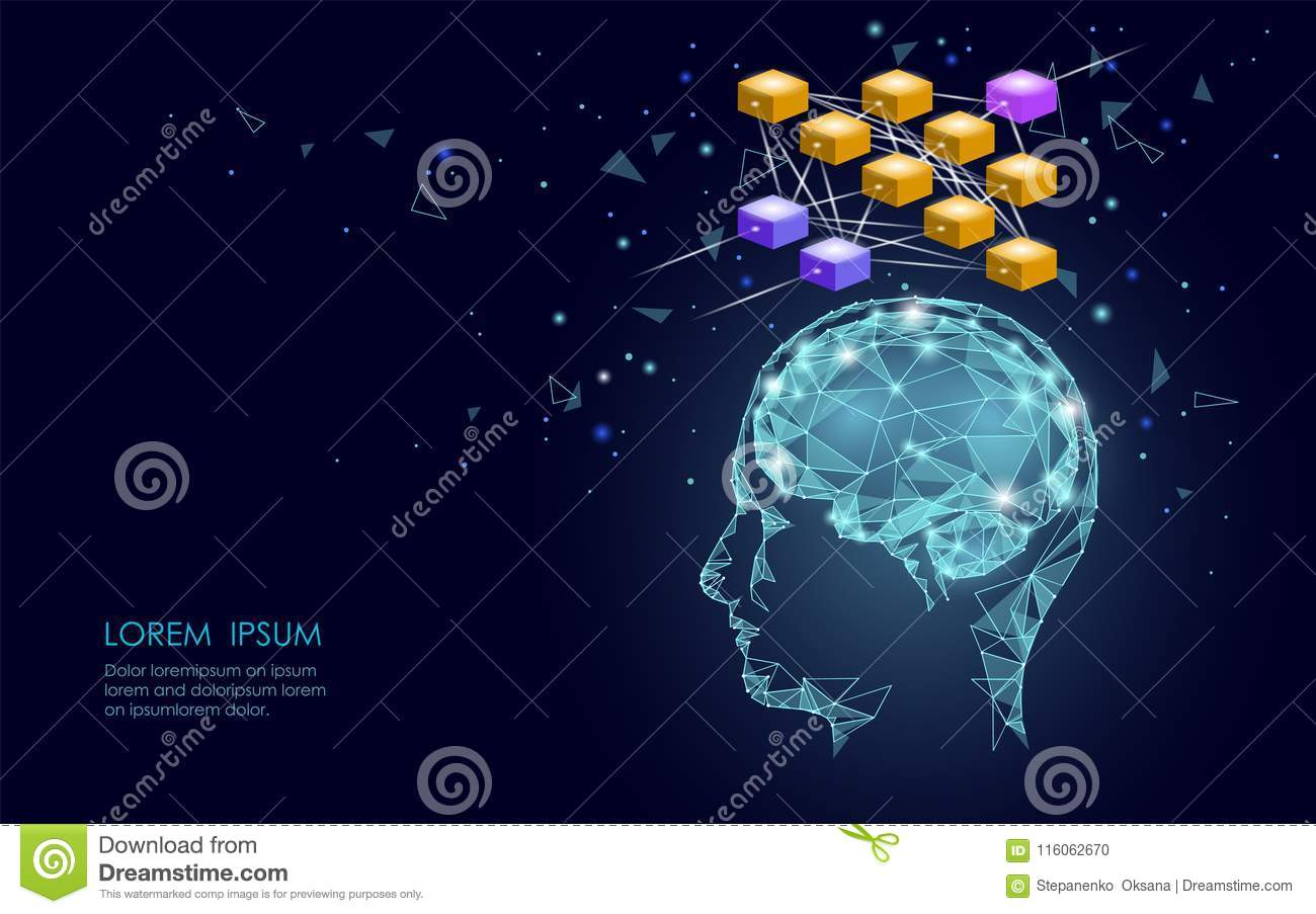 Isometric artificial intelligence human brain neural network business concept. Blue glowing personal information data