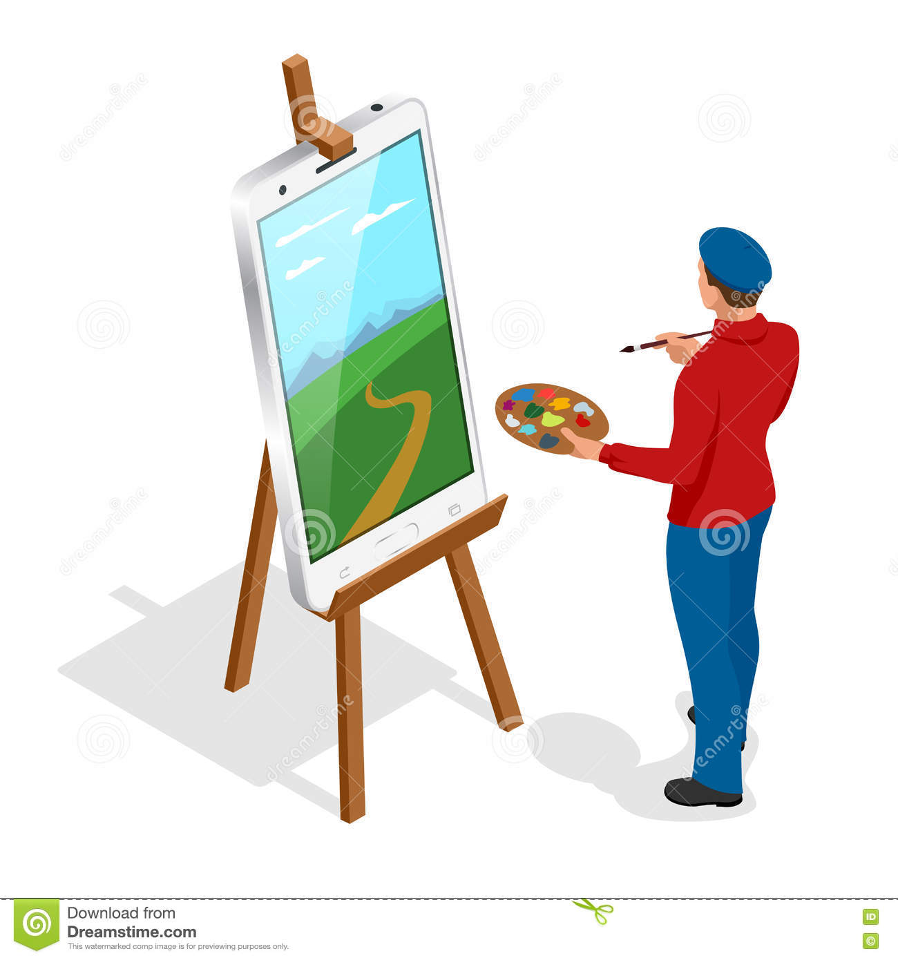 Isometric Artist Painter At Work Easel Palette Flat 3d Infographic Concept Vector Template