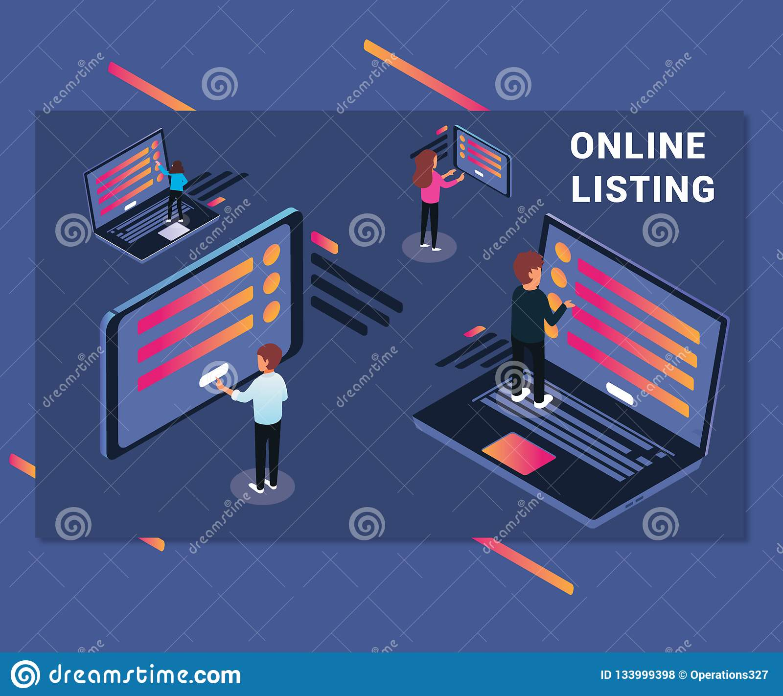 Isometric Artwork Online Listing of people Surfing Internet on Lapotp