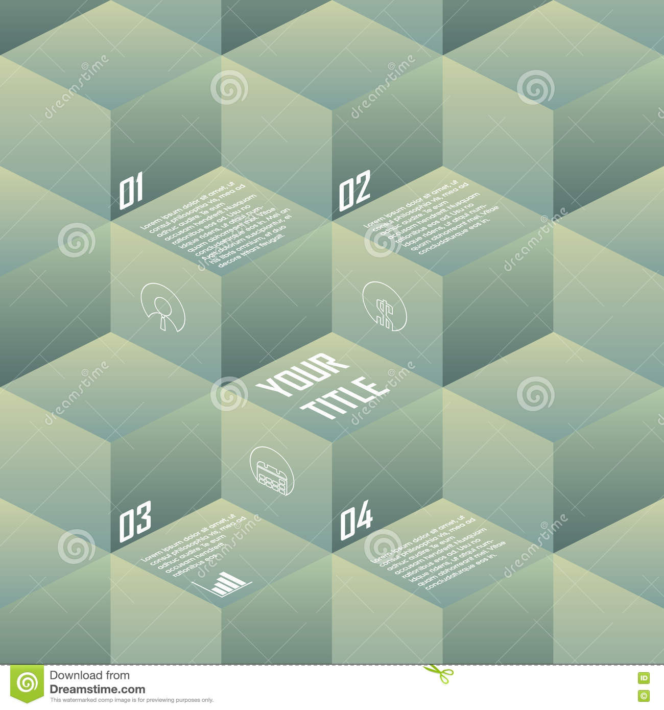 Isometric background cubes in retro vintage colors. Geometry backdrop suitable for infographics, presentations