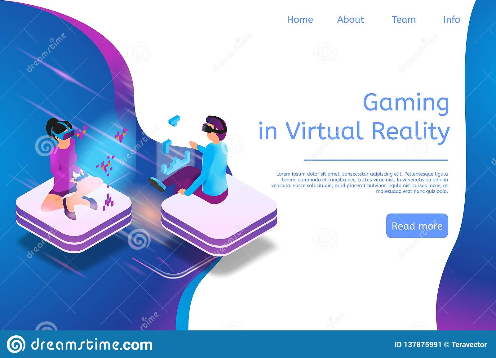 Isometric Banner Gaming In Virtual Reality In 3d Stock
