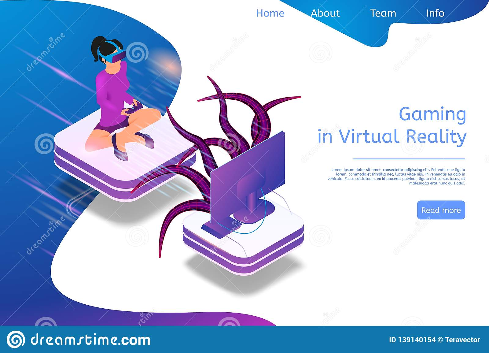 61160faf6db2 Isometric Banner Gaming in Virtual Reality in 3d. Vector Illustration Girl  Playing Video Game TV Using Virtual Reality Glasses. Fighting Monster with  Help ...