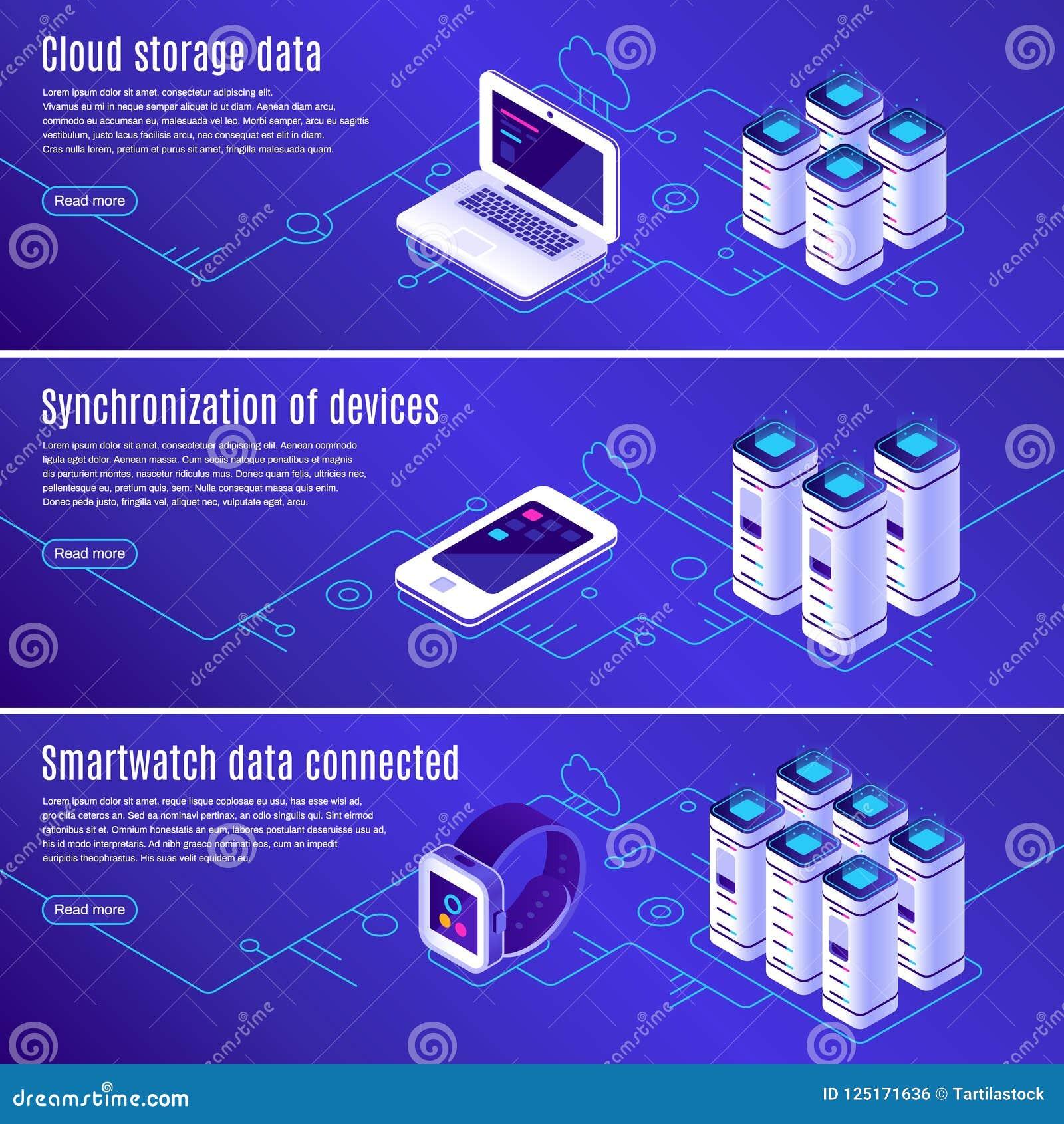 Isometric baza danych Komputer, laptop i smartphone, łączyliśmy chmurnieć online przechowywanie danych Zabezpiecza dostęp wsparci