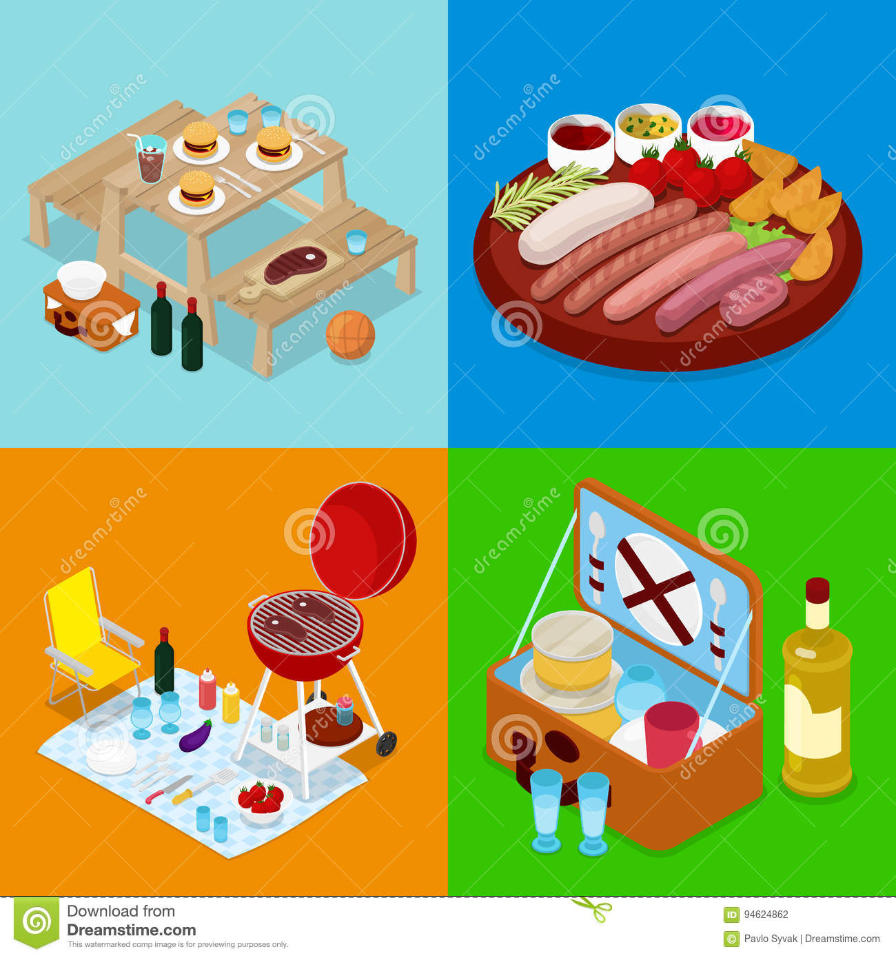 Isometric BBQ Picnic Food. Summer Holiday Camp. Grilled Meat, Wine and Vegetables