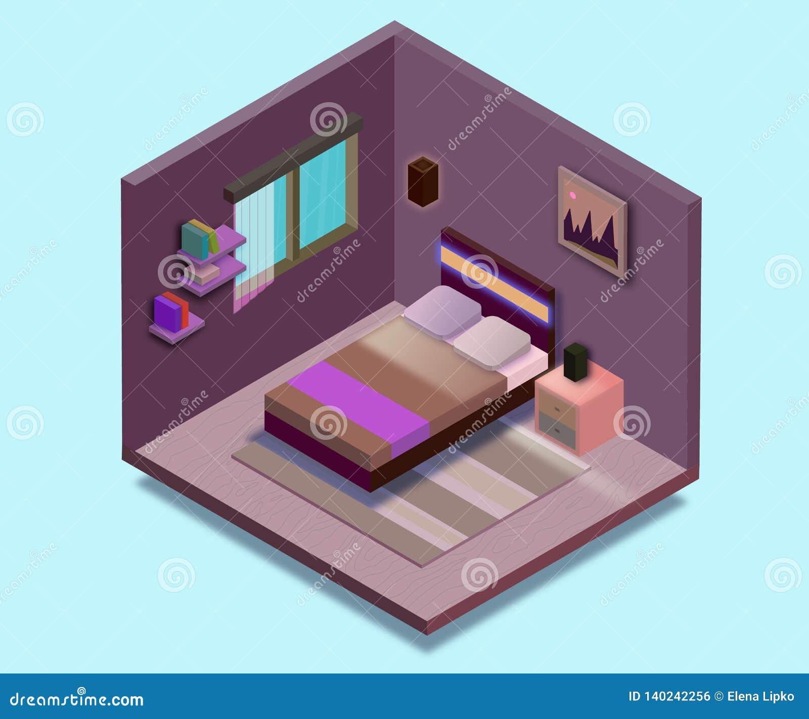 Isometric Bedroom Illustration Vector Flat Illustration Stock Vector Illustration Of Living Room 140242256