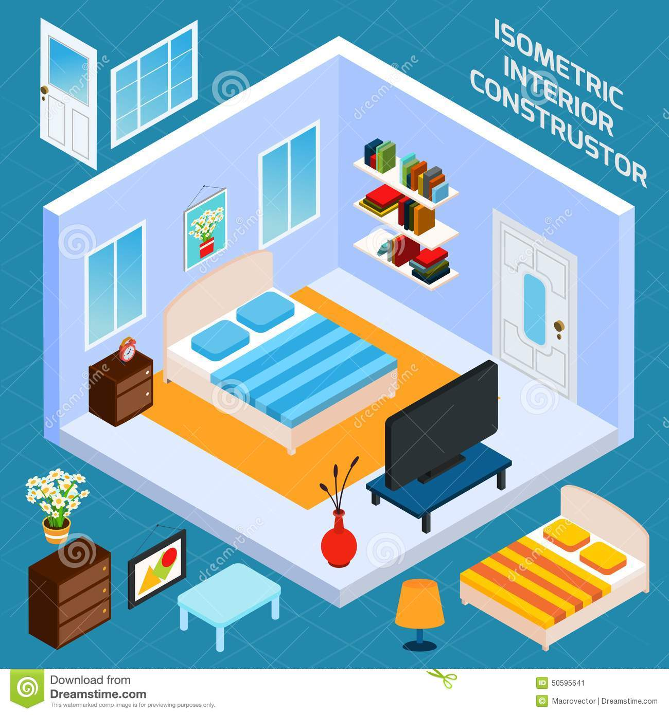 Bedroom Interior Design Set Furniture Vector ~ Isometric bedroom interior stock vector image