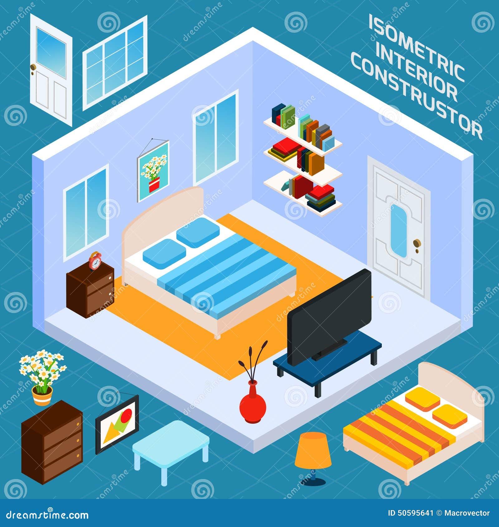 Bedroom Interior Design Set Furniture Vector ~ Isometric bedroom interior stock vector image