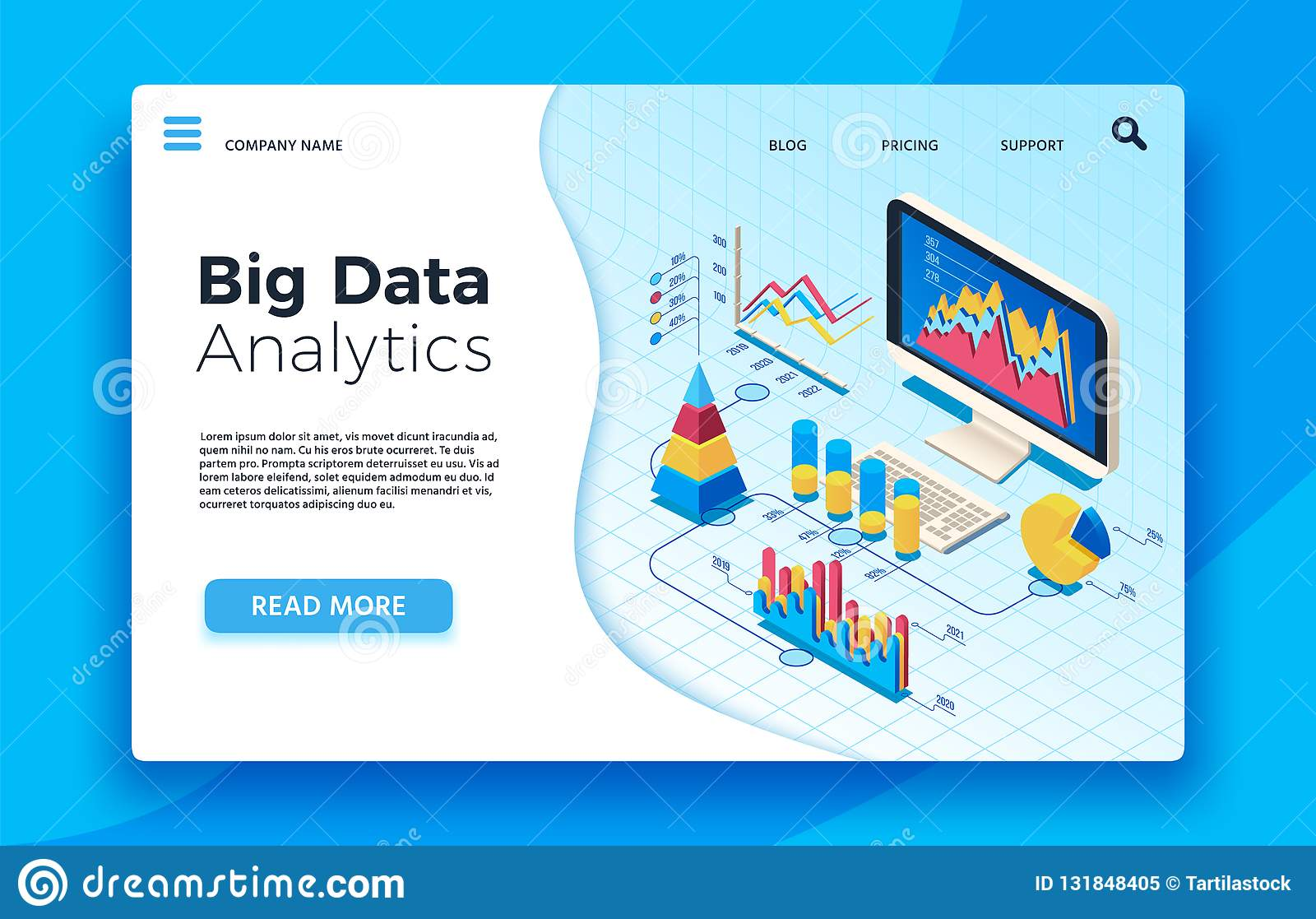 Isometric big data analytics. Analytical infographic statistic dashboard. 3d vector illustration