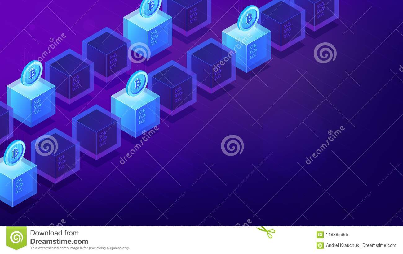 Isometric Bitcoin Mining Computers  Stock Vector - Illustration of