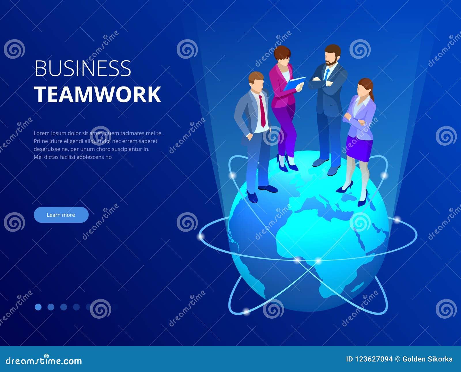 Isometric biznes drużyna, ludzie biznesu pojęć Sieć sztandar Ludzie biznesu stoją na światowej kuli ziemskiej nowe pomysły