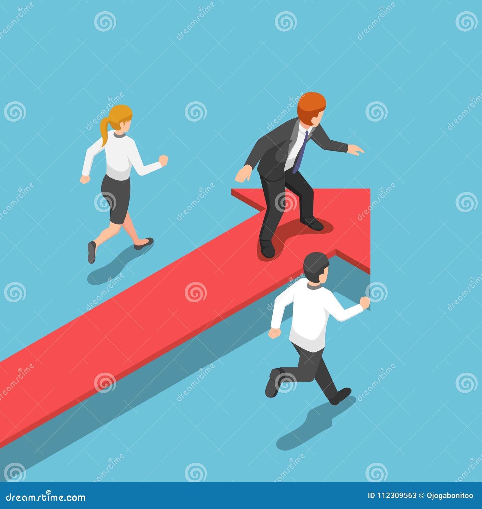 Isometric biznesmen pozycja na czerwonej strzała przy lider pozycją