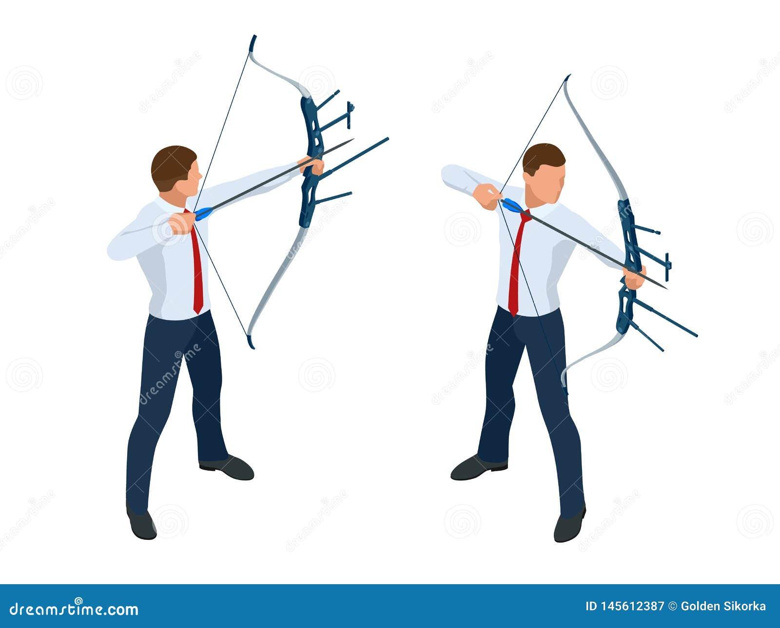 Isometric biznesmen strzela strzałę i łęk sukces Strza?a uderza centrum cel Biznesowy celu osiągnięcie