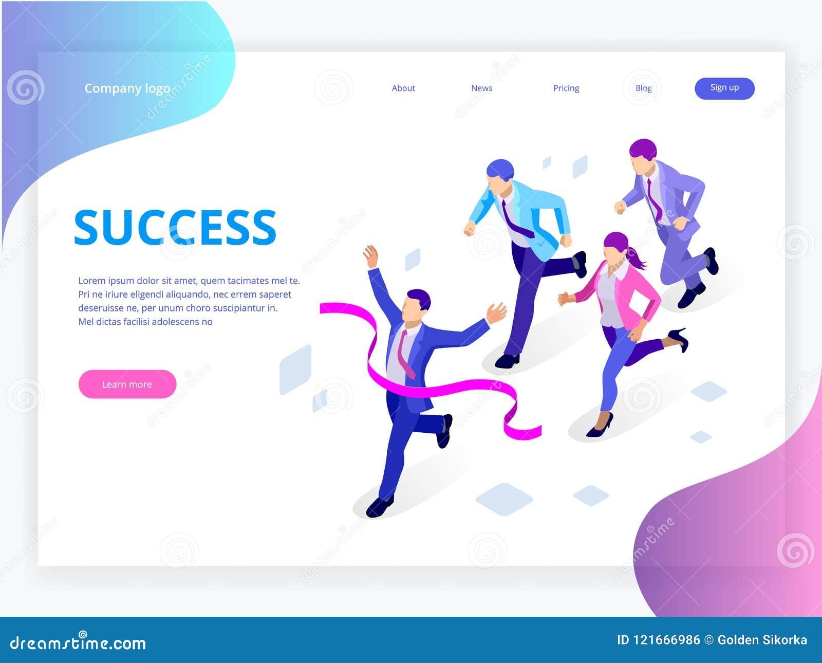Isometric Biznesowego sukcesu pojęcie Przedsiębiorcy biznesowego mężczyzna lider Biznesmen i jego biznesowy drużynowy skrzyżowani