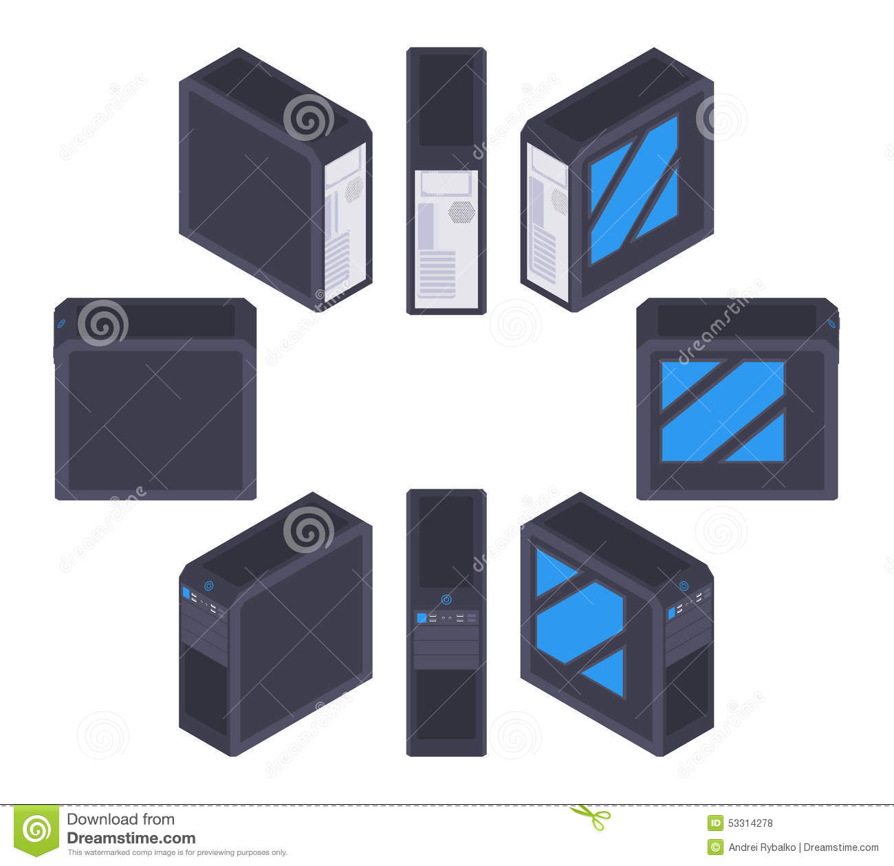 Isometric black PC case stock vector  Illustration of button