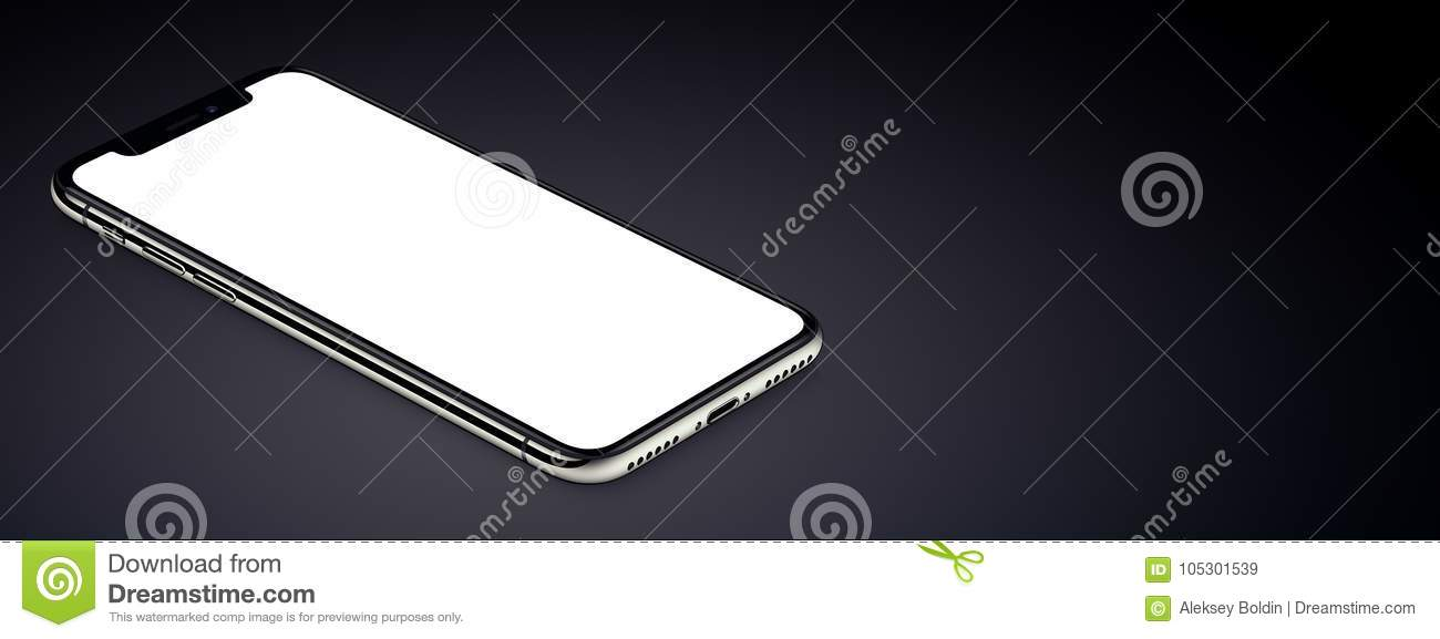 Isometric black smartphone similar to iPhone X mockup lies on dark surface banner with copy space