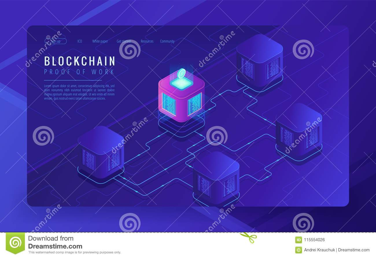 Isometric Blockchain Cryptocurrency And Data Transfer Concept Stock E Commerce Block Diagram Network Bitcoin Trading Global On Ultraviolet Background Vector 3d Illustration