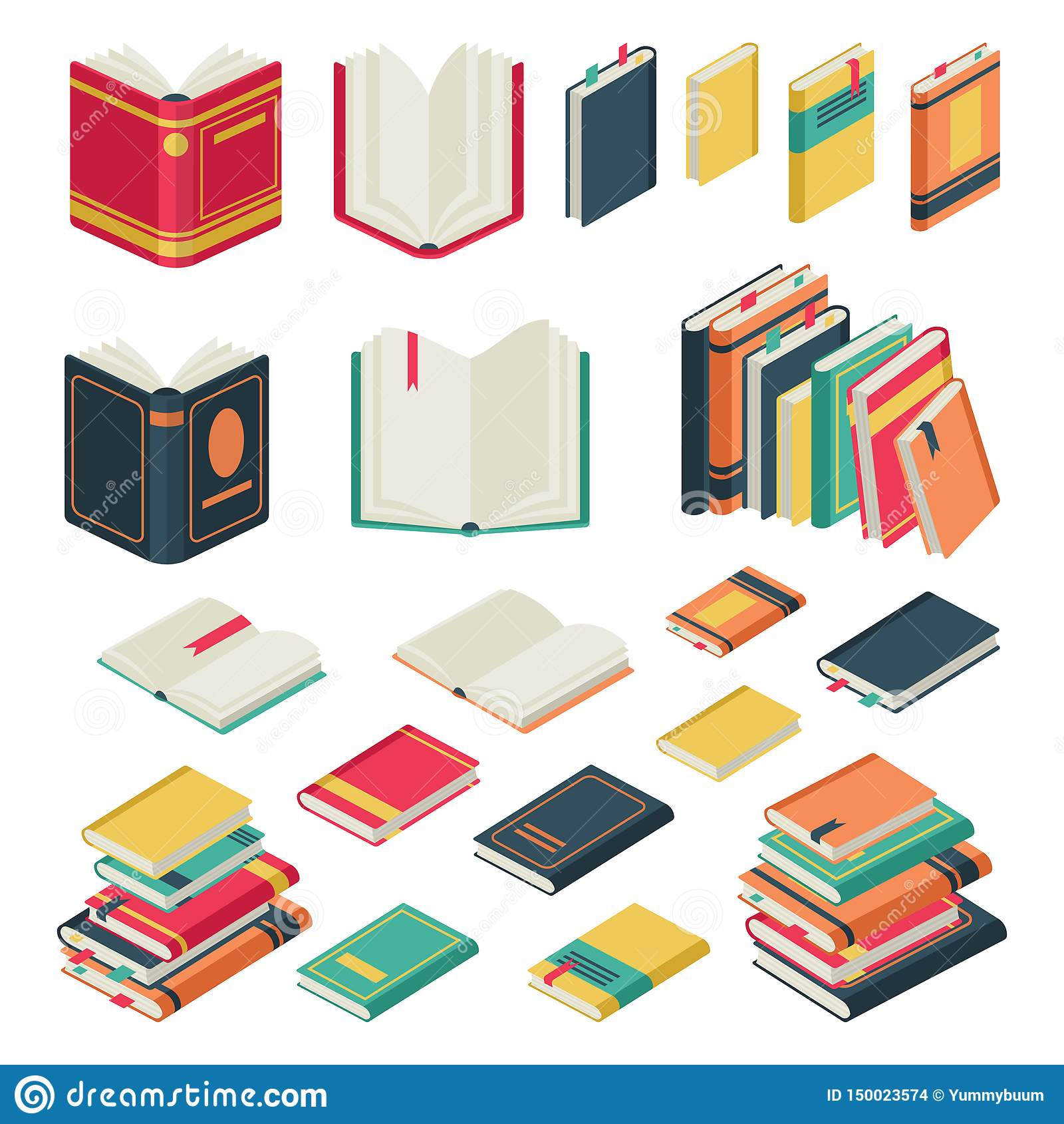 Isometric book collection. Opened and closed books set for school library publishing dictionary textbook magazine vector