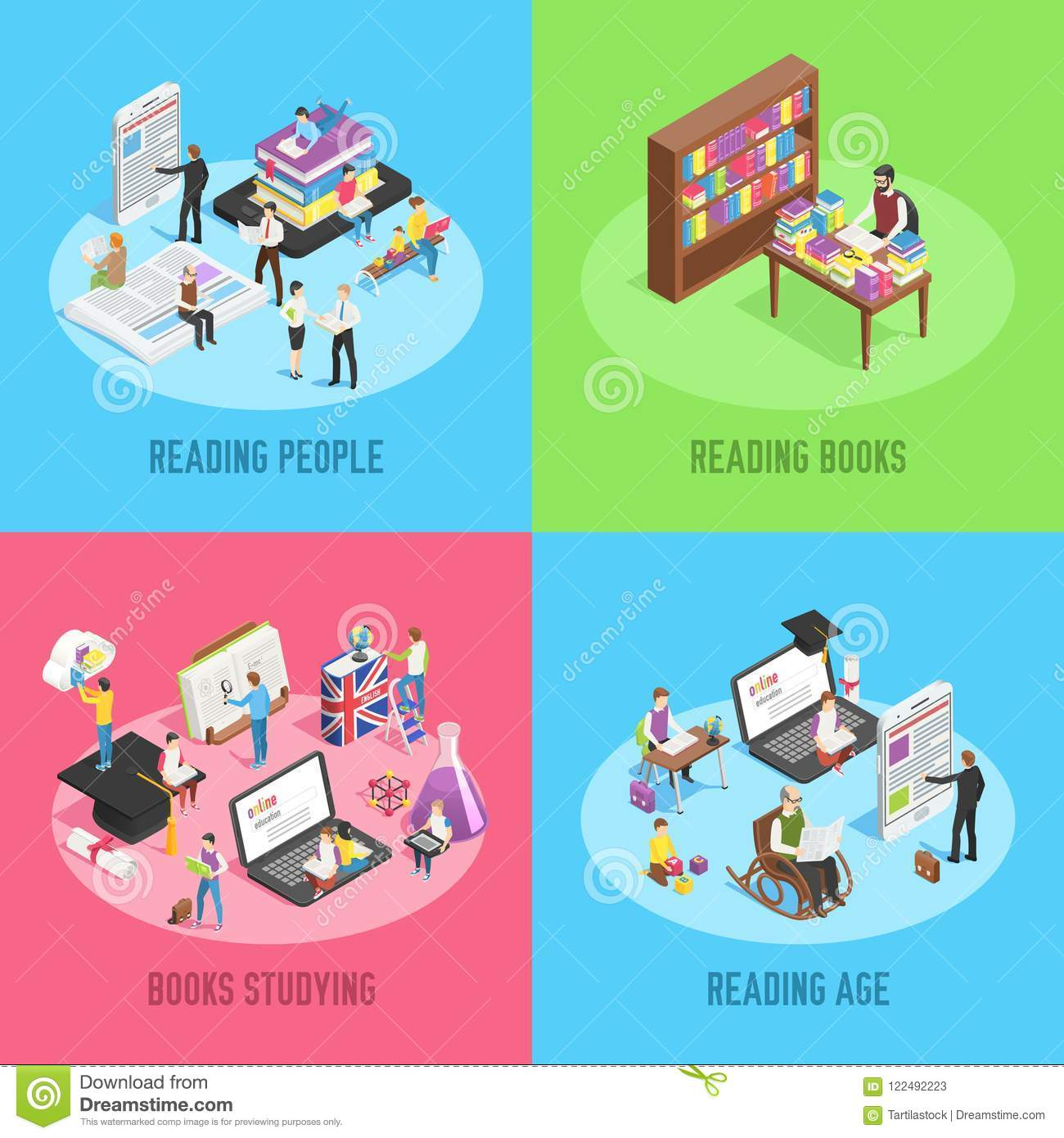 Isometric books reading. Educated people, school child studying schoolbook and student read newspaper or book 3d vector