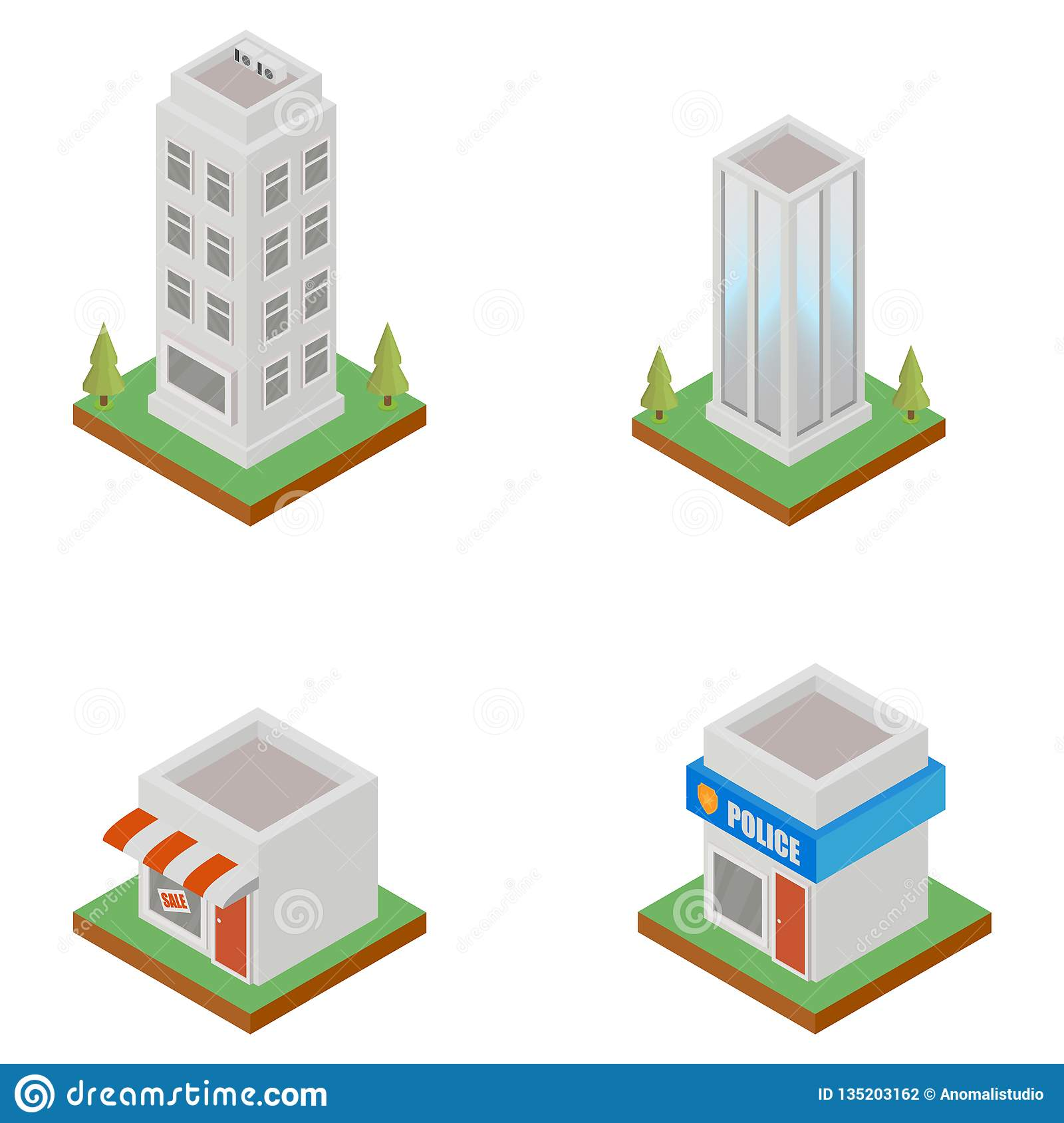 Isometric Buildings Exterior Stock Vector - Illustration of concept on