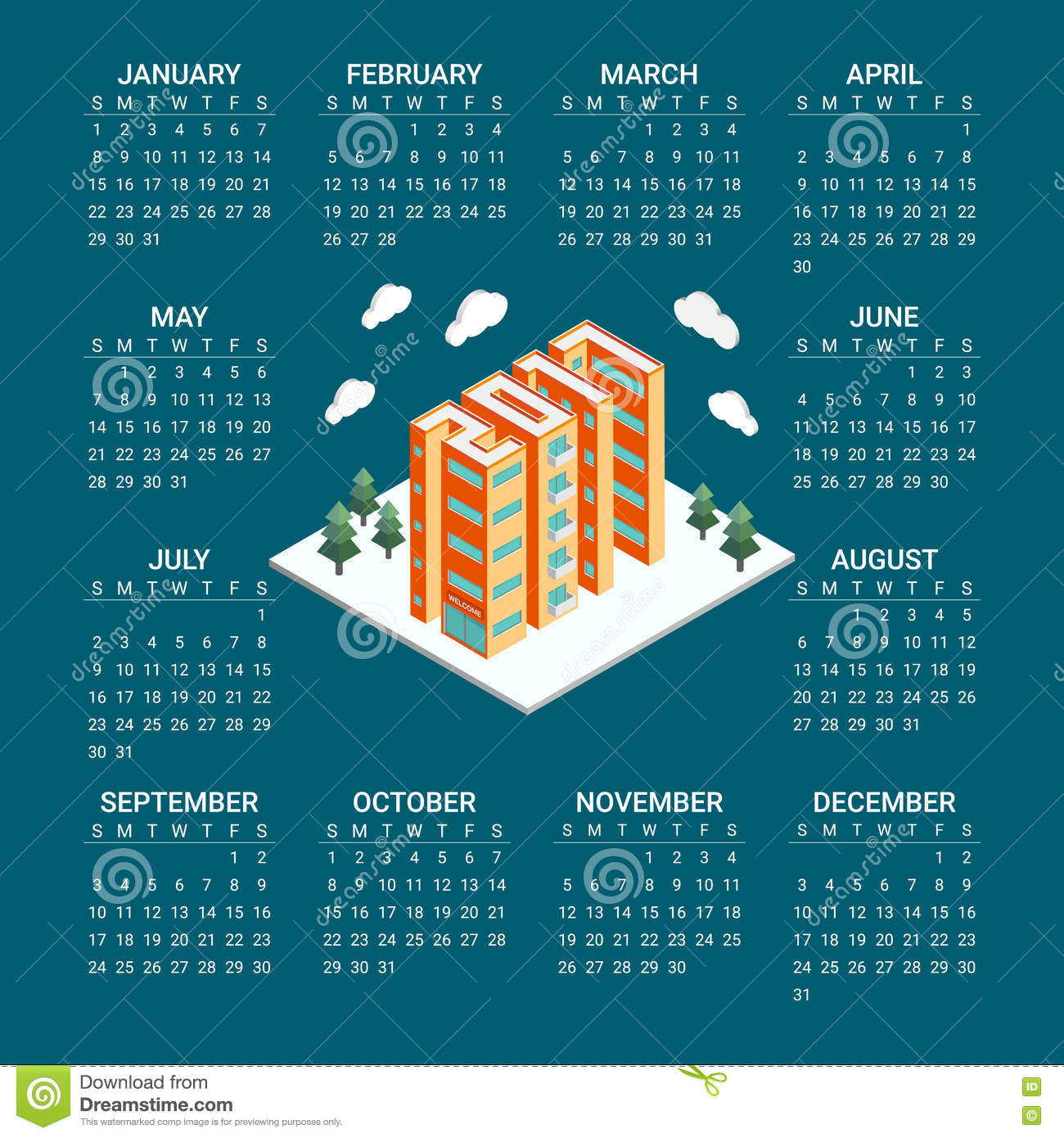 Real Estate Calendar Design : Isometric buildings in the form of new year poster