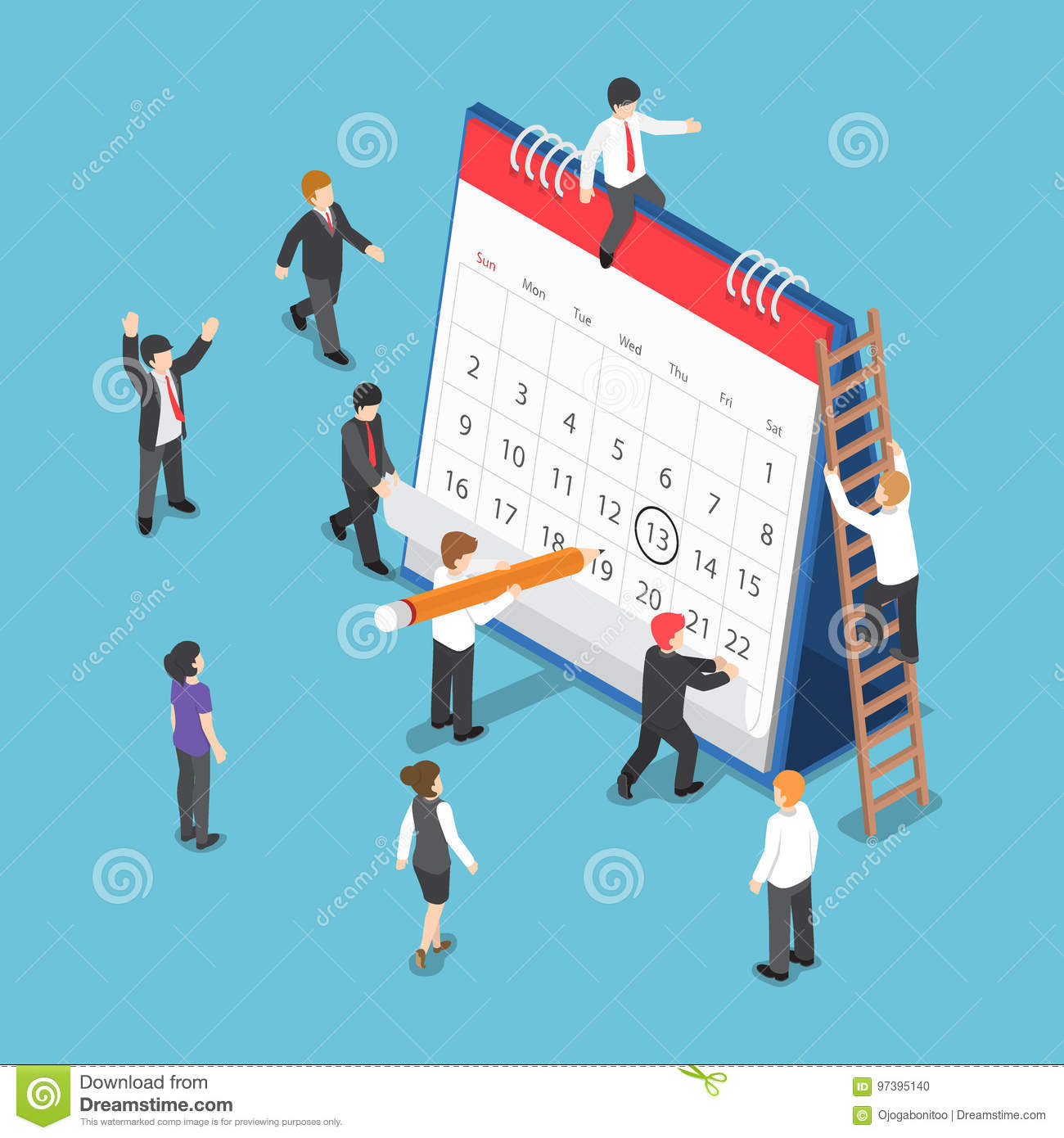 Isometric Business People Scheduling Operation on Desk Calendar