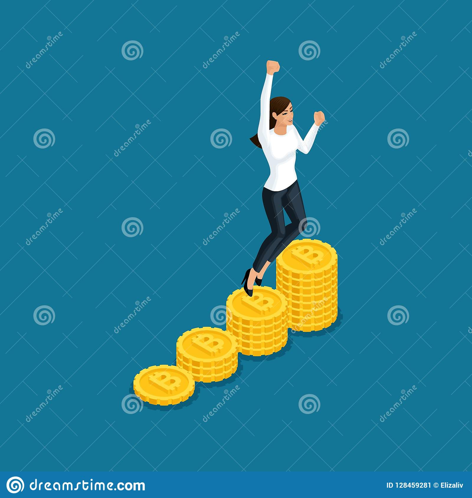 Isometric business woman jumping rejoices big profit ico blockchain cryptocurrency mining, startup project isolated vector illustr