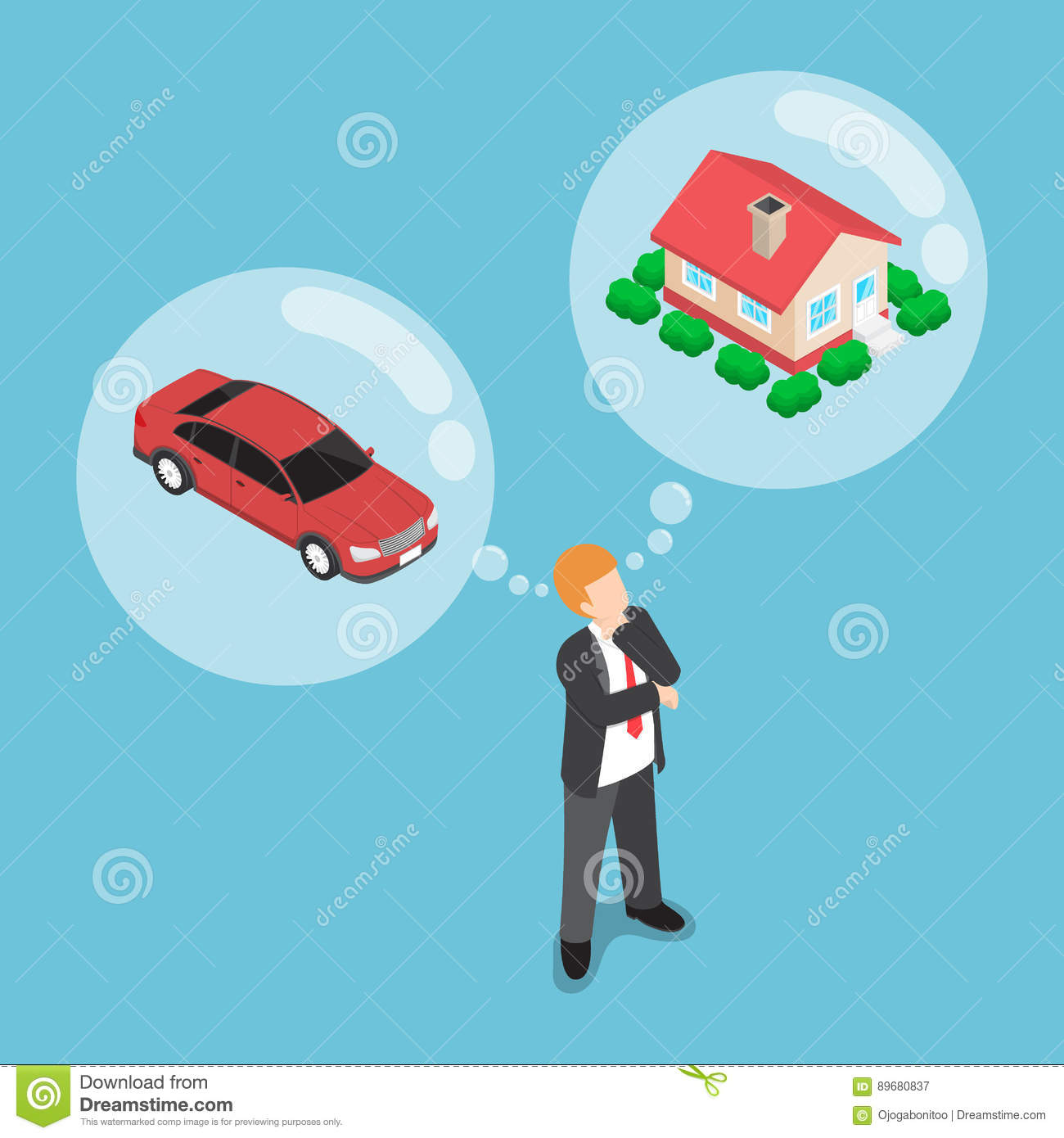 Isometric businessman dreaming about house and car