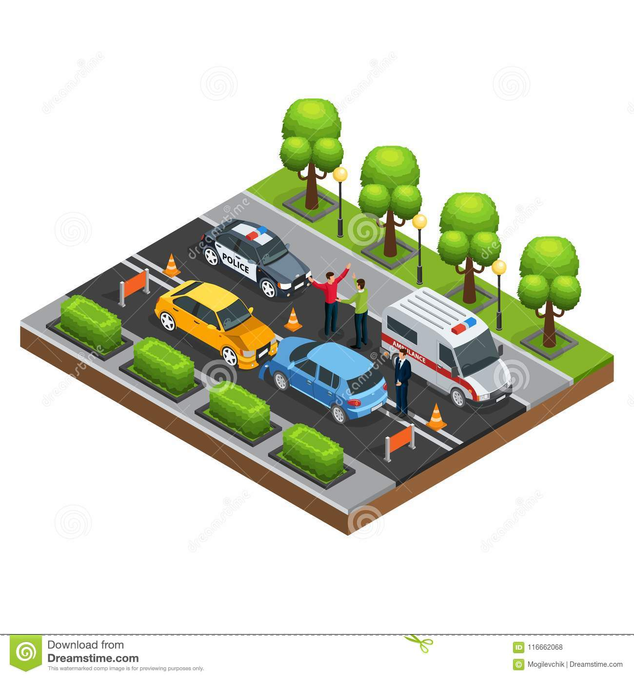 Isometric Car Accident Concept