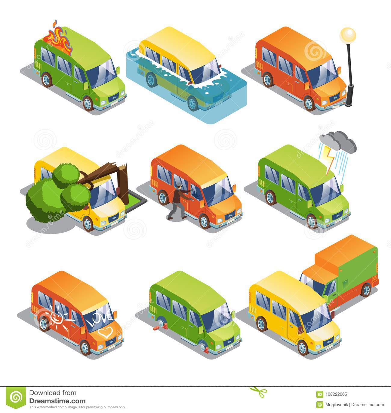Isometric Car Insurance Set