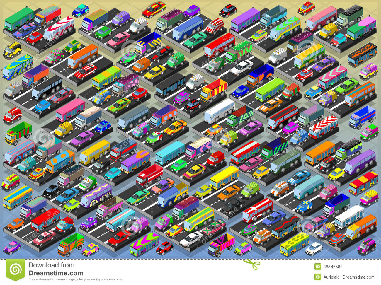 All Color Vans: Isometric Cars, Buses, Trucks, Vans, Mega Collection All