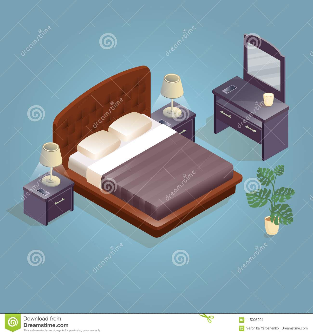 Picture of: Isometric Cartoon Double King Size Beds Isolated On Blue Stock Vector Illustration Of Isometry Headboard 115006294