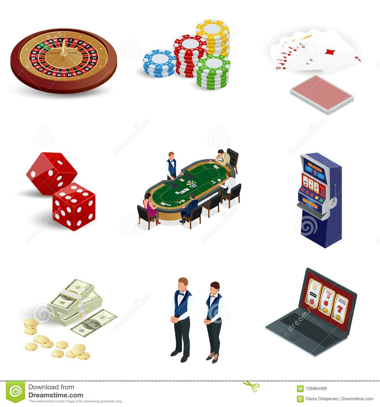 Isometric casino icons set. Laptop with roulette, slot machine, dice, casino chips and playing cards isolated on