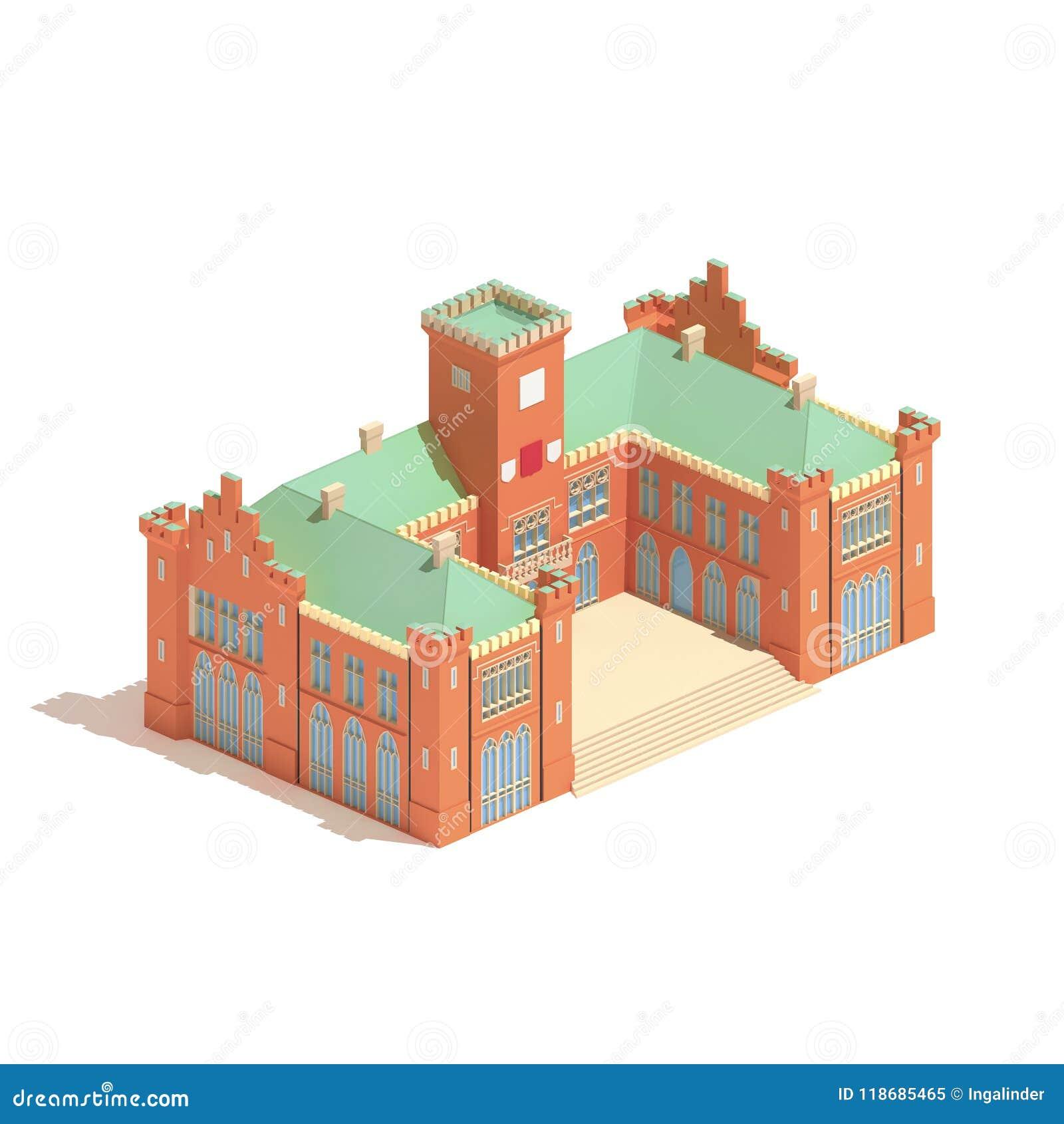 Flat 3d Model Isometric Castle Or University Building
