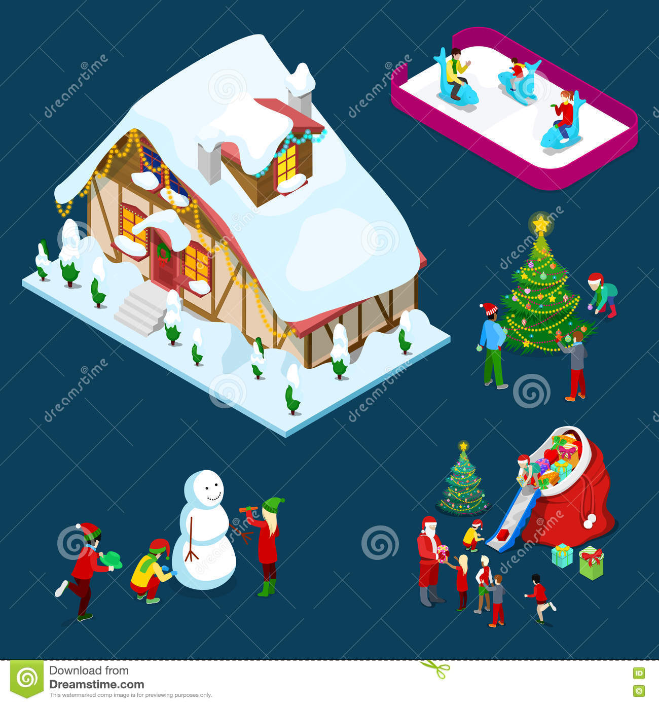 More similar stock images of 3d landscape with fall tree - Isometric Christmas Decorated House With Christmas Tree Santa Children And Snowman Royalty Free Stock
