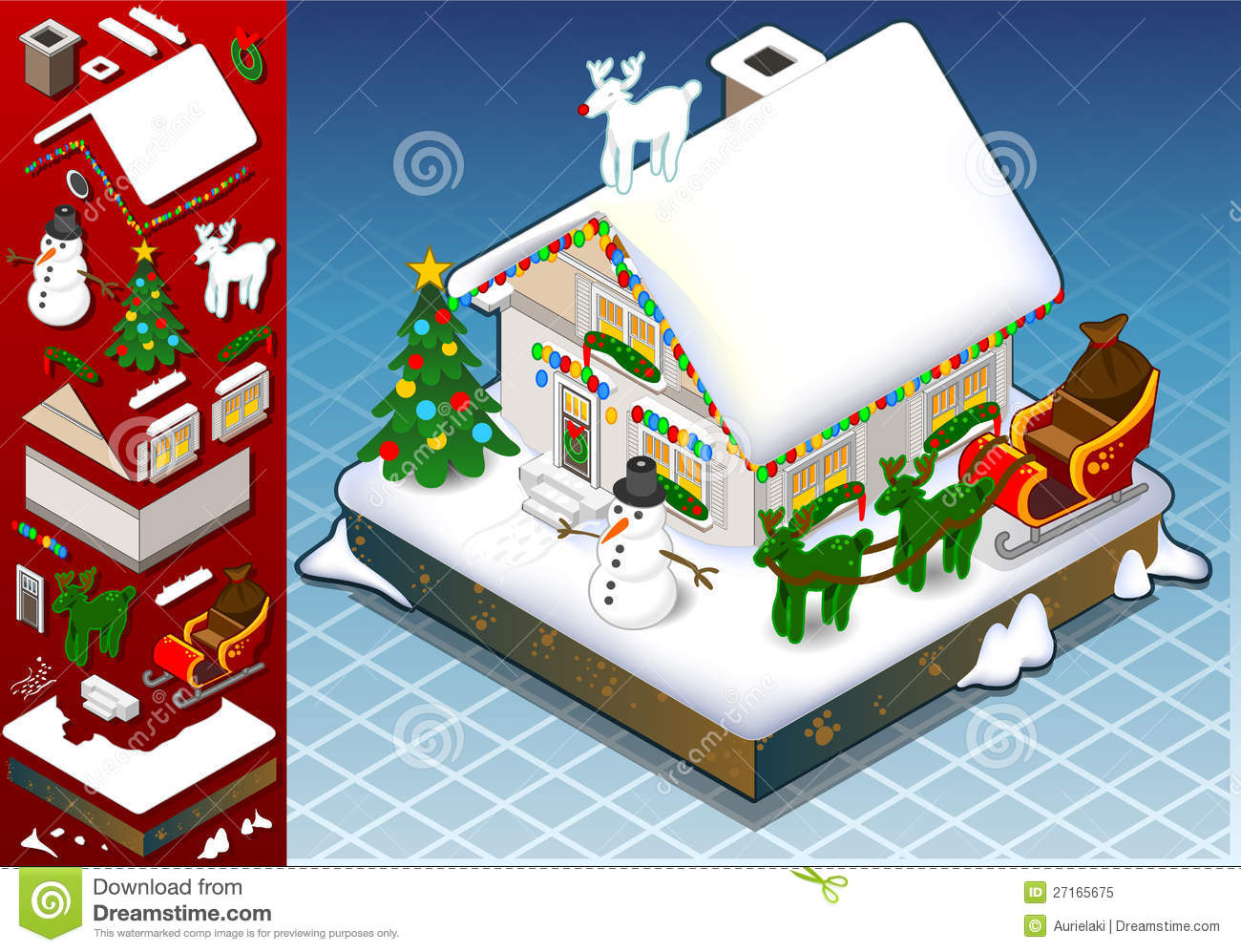 Isometric Christmas Snow Capped House Stock Vector