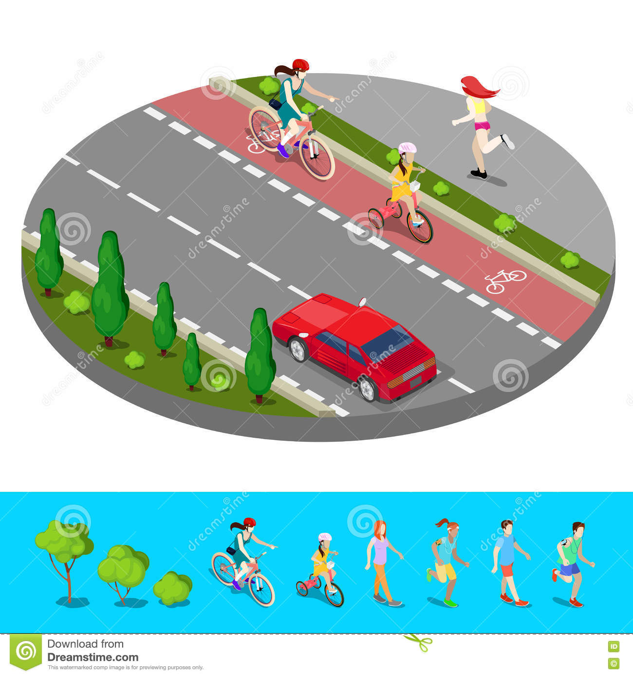 Isometric City. Bike Path with Bicyclist. Footpath with Running Woman