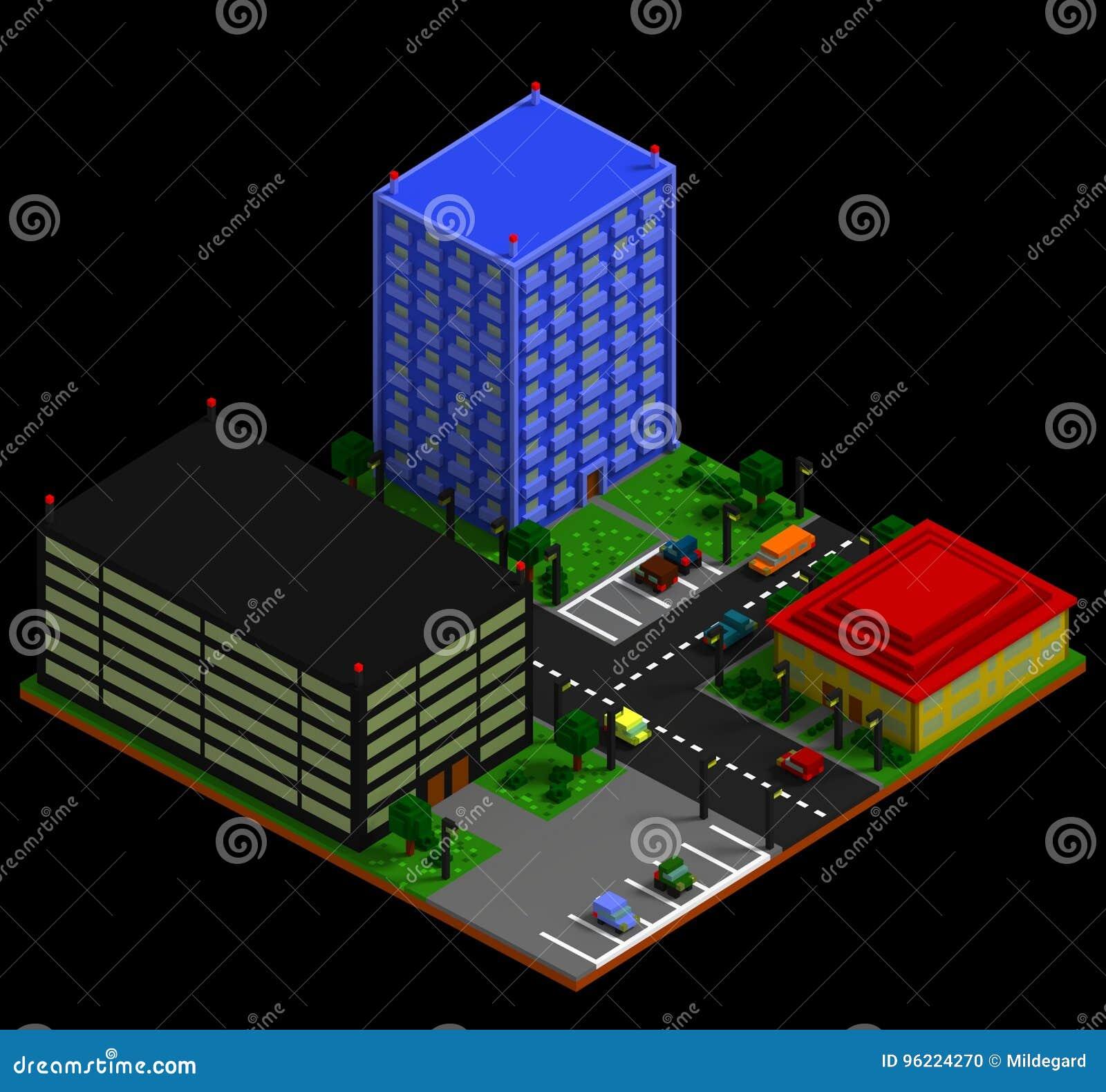 Isometric City Landscape In Retro Voxel Style Stock