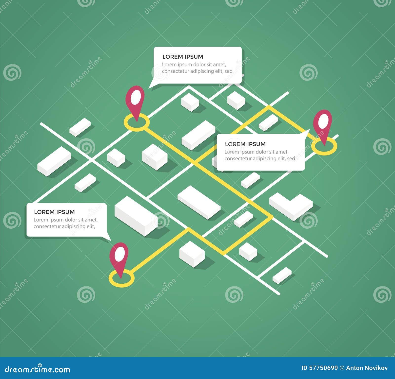 Isometric City Map Design Elements Stock Vector - Image: 57750699