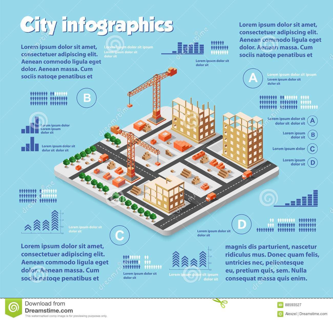 Isometric City Map Industry Stock Vector - Illustration of internet on