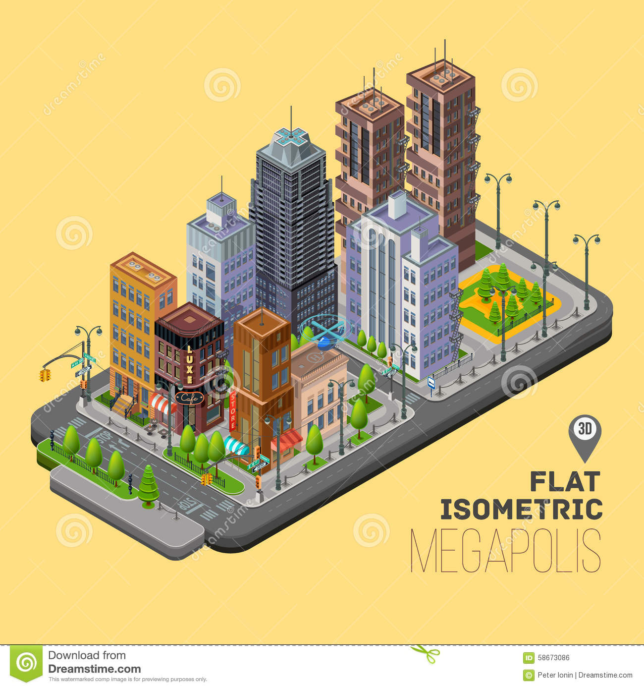 More similar stock images of 3d landscape with fall tree - Isometric City Megapolis Concept With 3d Vector Royalty Free Stock Image
