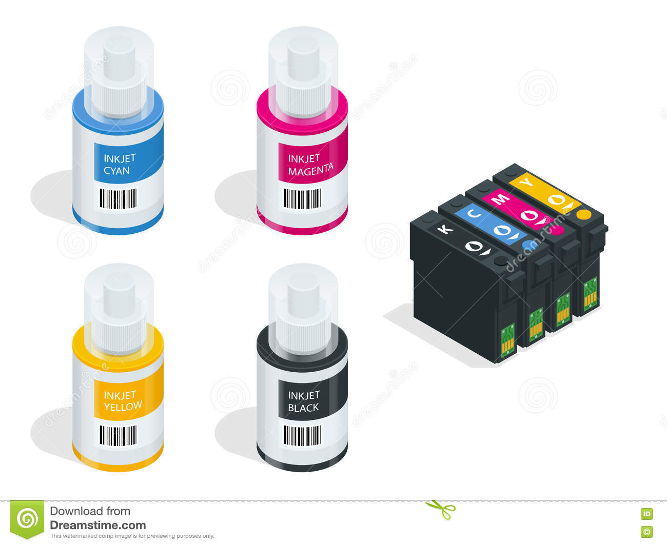 Isometric CMYK set of cartridges for ink jet printer and color chart. Empty refillable cartridges for colour inkjet